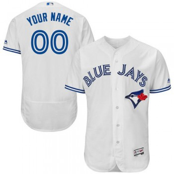 Men's Customized White Home Flex Base Authentic Collection Jersey Toronto Blue Jays